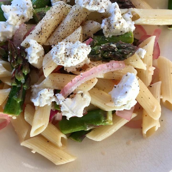 Linguini with Lemon-Roasted Asparagus and GoatCheese