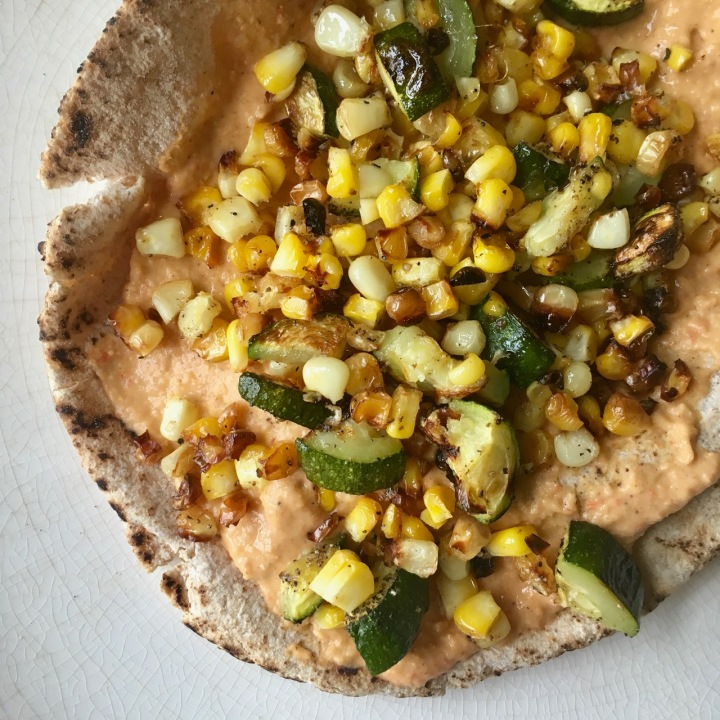Grilled Zucchini Corn Tostadas with SpicyHummus